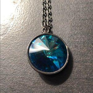 Faceted Blue Prism Necklace